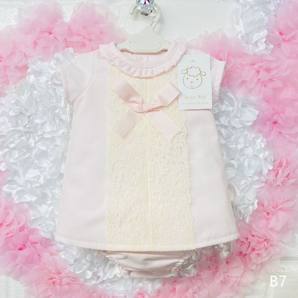 Baby Girl Spanish Pink Waffle Dress Frilly Collar With Pants